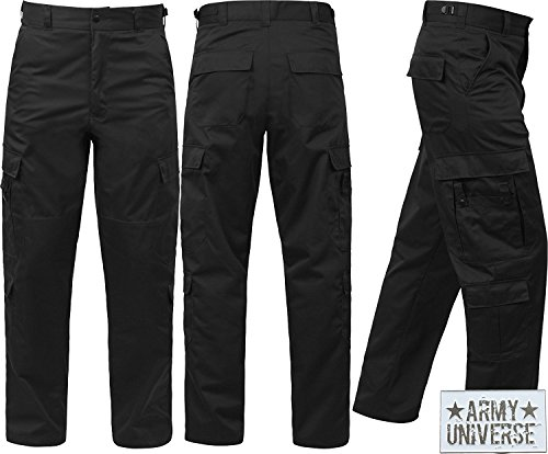 Black Uniform 9 Pocket Cargo Pants, Poly Cotton Work Pants for EMT EMS Police Security with ArmyUniverse Pin - L Short (W 35