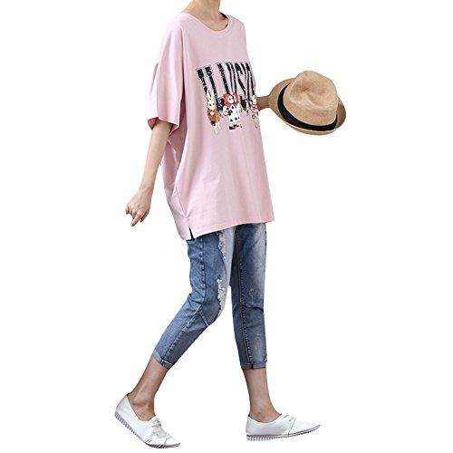 CA-TING Tシャツ レディース 半袖 ロンT 春 夏 ゆったり 大きめ ラウンドネック コットン Tシャツ ウサギ柄 トップス 韓国風 夏ファッションレジャー服 着痩せ 可愛い おしゃれ