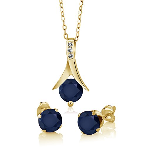 (Gem Stone King 3.05 Ct Blue Sapphire Diamond 18K Yellow Gold Plated Silver Pendant Earrings Set)