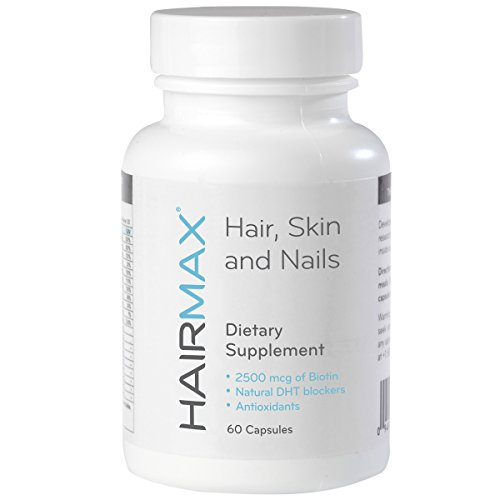 HairMax for Hair, Skin and Nails Dietary Supplement, 60 Count. Contains 2500mcg Biotin, DHT Blockers, MSM and Antioxidants