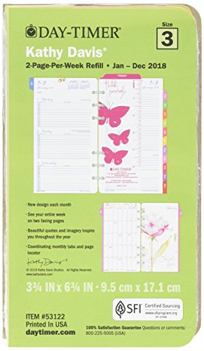 Day-Timer Two Page Per Week Planner Refill, January 2018 - December 2018, 3-3/4