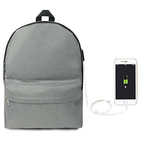 Oflamn Laptop Backpack with USB Charging Port College Vintage Bookbag Unisex Casual Rucksack Fit 14