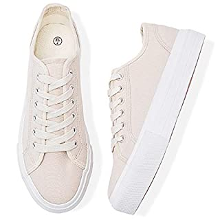 Adokoo Womens Platform Sneakers Canvas Shoes White Platform Sneaker (Pink,US8)