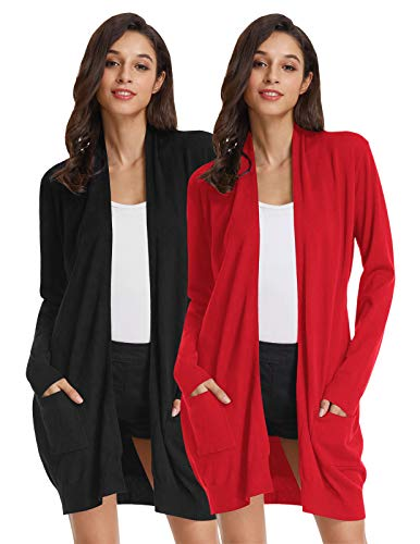 Womens Basic Open Front Knit Cardigan Sweater Top (L,2 Pack Black Red) ()