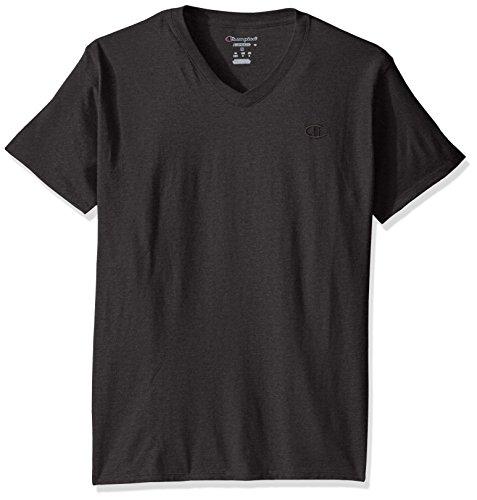 Sleeve V-neck Jersey T-shirt - Champion Men's Classic Jersey V-Neck T-Shirt, Granite Heather, S