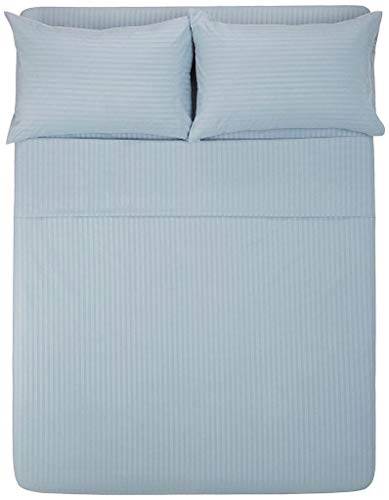 Bedding Experts Hotel Luxury Collection 1800 Series Brushed Microfiber 10 Inch Extra Deep Pocket Bed Sheet Set 4 Piece (Three Quarter Size, Stripe Light Blue)