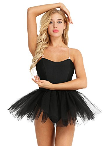 iiniim Women's Ballet Tutu Costume Black Swan Lake Dance Leotard Dress Black M -