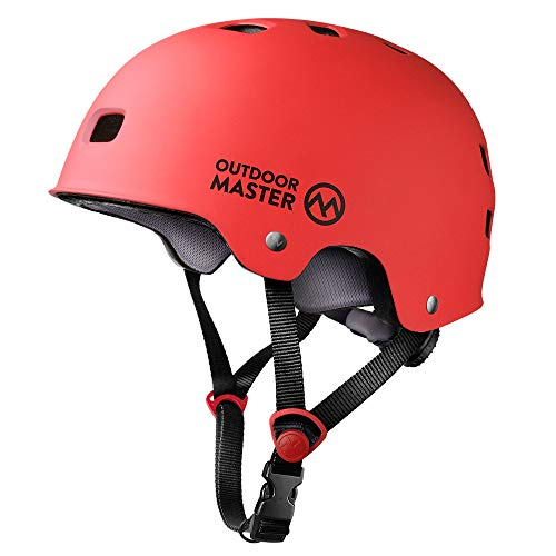 - OutdoorMaster Skateboard Helmet - CPSC Certified Lightweight, Low-Profile Skate & freestyle BMX Helmet with Removable Lining - 12 Vents Ventilation System - for Kids, Youth & Adults - L - Red
