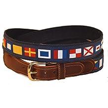 Preston Leather Nautical Code Flag Belt Blue