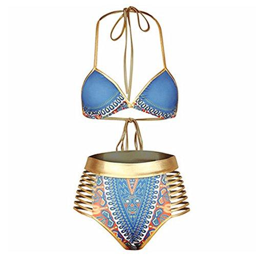 GGTFA Mujeres Vendaje Hueco Cintura Alta Impresión Retro Halter Bikini Brasileño Trajes De Baño Bañador Swimwear Beachwear Azul