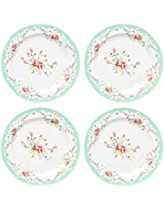 Gracie China by Coastline Imports Green Vintage Rose Porcelain Dessert Plate 8-Inch Set of 4