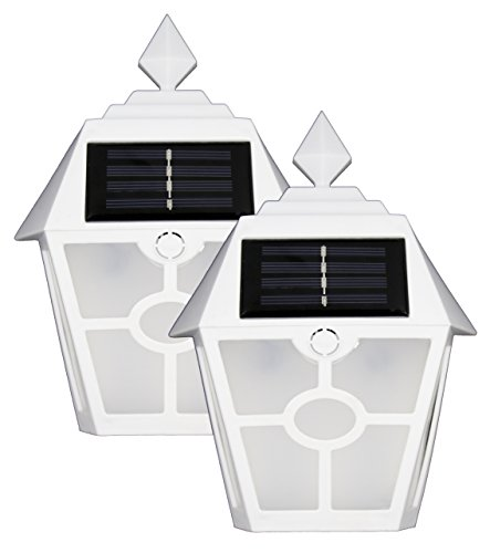 Sogrand Solar Wall Lights Outdoor Deck Lighting Warm LED Porch Light Dock Decorations Waterproof Fence Lights Bright Step Stair Lamp White Garage Door Lantern Outside Decor Post Yard Walkway 2Pack For Sale
