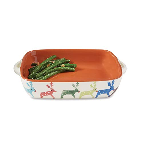 stmas Holiday Reindeer Terracotta Baking Dish, One Size, Multi ()