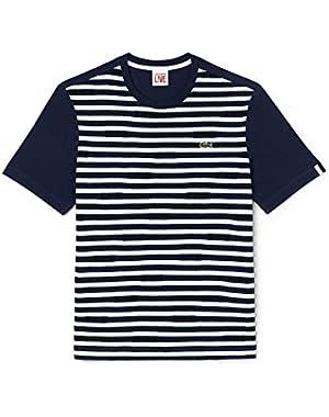 Men's Un Pour Tous Blue Striped Men's T-Shirt in Size 6-XL Blue