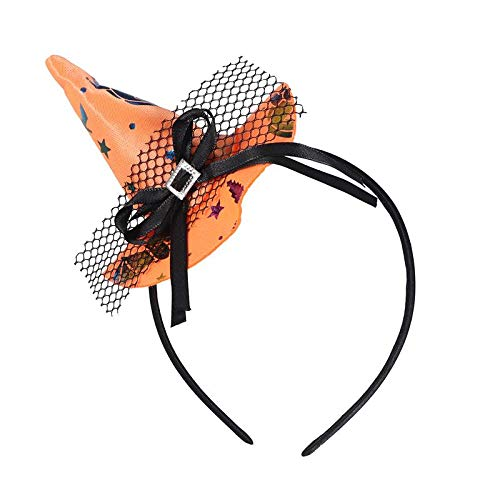 1 piece Kids Girls Witch Hat With Stars Pattern Halloween Headband Novelty Hair Band Hair Halloween Party Cosplay Costume -