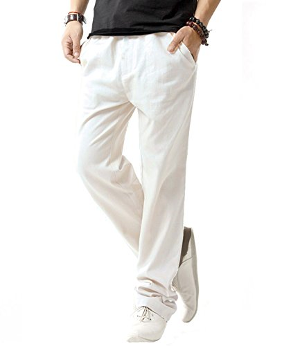(SIR7 Men's Linen Casual Lightweight Drawstrintg Elastic Waist Summer Beach Pants White)