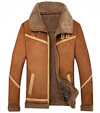Frieed Mens Zip-Up Linen Fleece Faux Pu Leather Winter