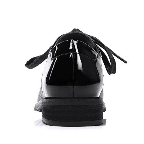 Derbies pour Noir ANNIESHOE Confortable Femme Cuir vdvwqO