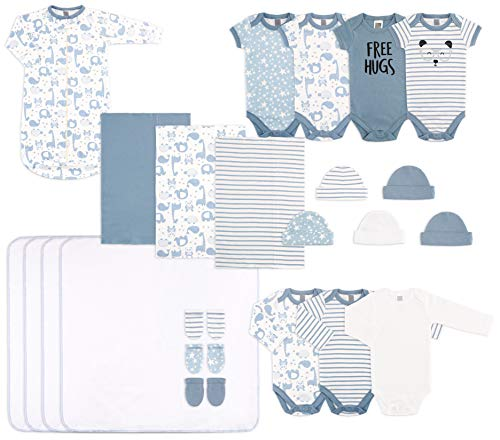 The Peanutshell 23 Piece Essential Layette Gift Set in Blue for Newborn Baby Boys
