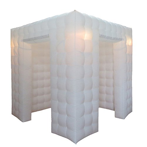 Inflatable Portable Photo Booth Enclosure - Inflatable Photobooth with Led Lights 4 Bulbs and Inner Air Blower Photo Booth Cube for Party, Wedding, Birthday, Halloween Decoration (Two Door White)