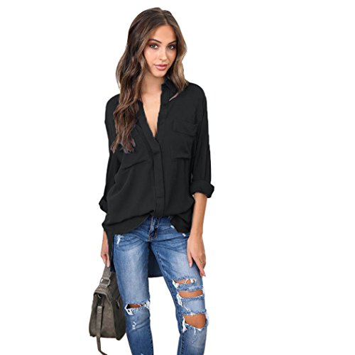 Blouse Longues T Chic Shirt Manches Sexy mioim Top V Chemisier Femmes Longue Dames Col Bande Haut Tops Noir Chemise Casual Shirt xq8ZAqgw
