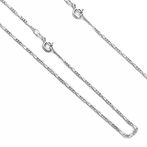 - Sterling Silver Chain 1.8MM Figaro 050 Gauge Chain Necklaces 7