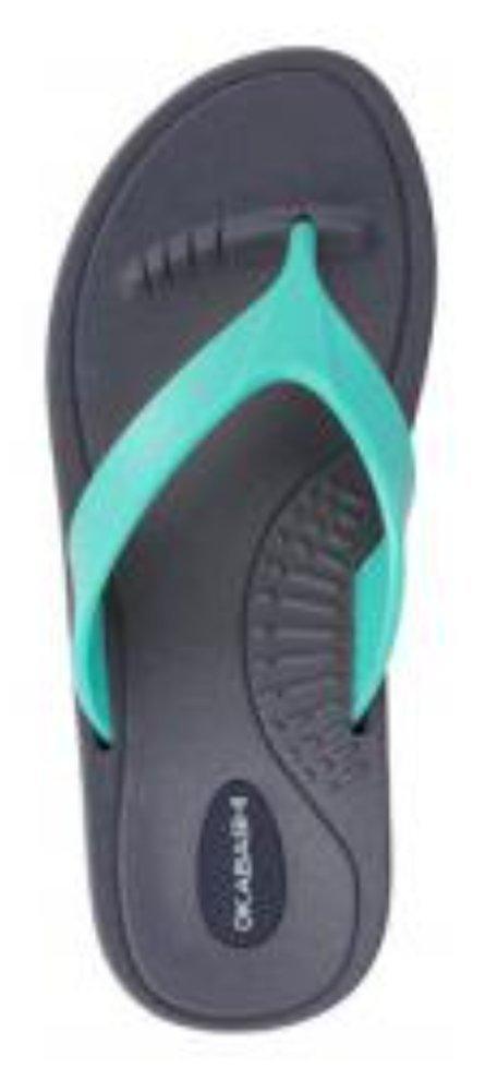 Okabashi Marina Women Open Toe Synthetic Thong Sandal (Large/9.5-10.5 B(M) US, Slate/Sea Glass)