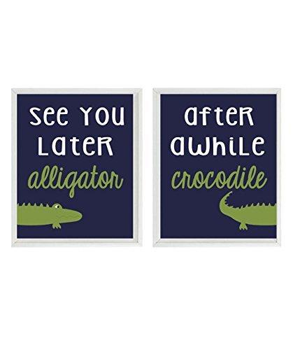Alligator Nursery, Gator Wall Art, See You Later Alligator, Baby Boy Nursery, Alligator Art Prints, Toddler Boy Art, Navy Blue Stripes, Alligator Art, Gator Print, Madras Bedding Art