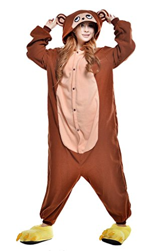 NEWCOSPLAY Unisex Adult One- Piece Cosplay Animal Pajamas Halloween Costume (XL, Brown Monkey)