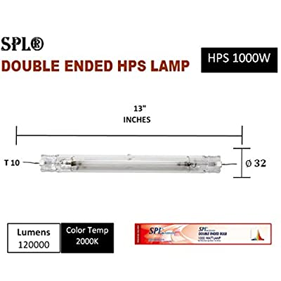 SPL Horticulture Double Ended 1000-Watt High Pressure Sodium HPS 1000W Grow Light Bulb Lamp for Magnetic and Digital Ballast