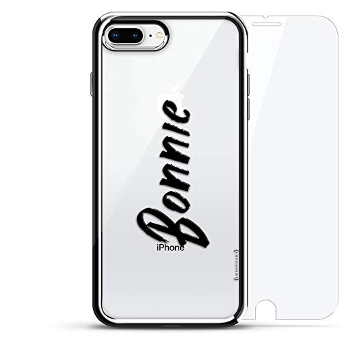 Name: Bonnie, Hand-Written Style | Luxendary Chrome Series 360 Bundle: Designer case + Tempered Glass for iPhone 8/7 Plus in Silver