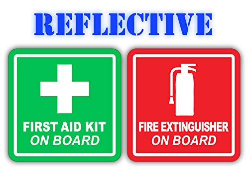 ((x1 of Each) 3M Reflective Red Fire Extinguisher and Green First Aid Kit On Board industrial Decals   4