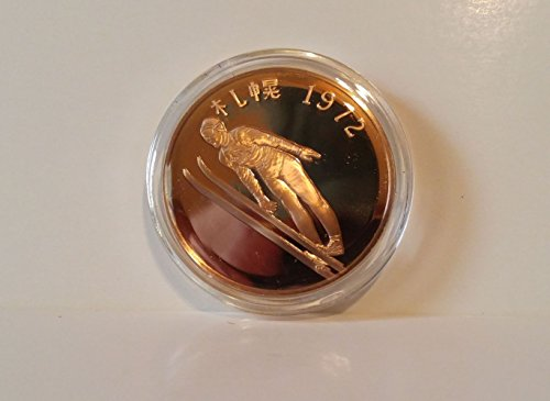 Yukio Kasaya wins Japan's first Winter Olympic Gold medal - Ski Jump - 1972 Sapporo, Japan - Franklin Mint History of the Olympic Games - 1976 Bronze Proof Coin ()