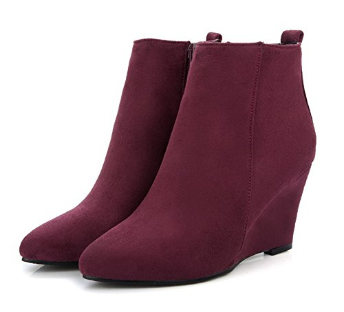 Chiusa Chiusa Chiusa Zeppa Scarpe a Shoes Donna Scamosciati Scamosciati Scamosciati Zip Chiaretto AgeeMi Stivaletti nXFx0qt