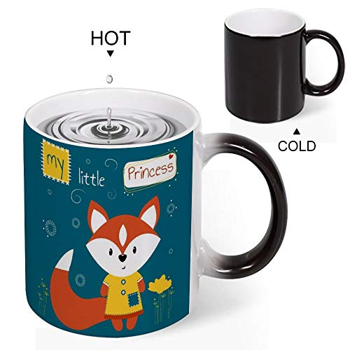 Yishour Novelty Magic Morning Coffee Mug To My Wife Mug Color Changing There S A Cute Fox That Says My Little Princess Tea Cup Unique Ideal Gifts