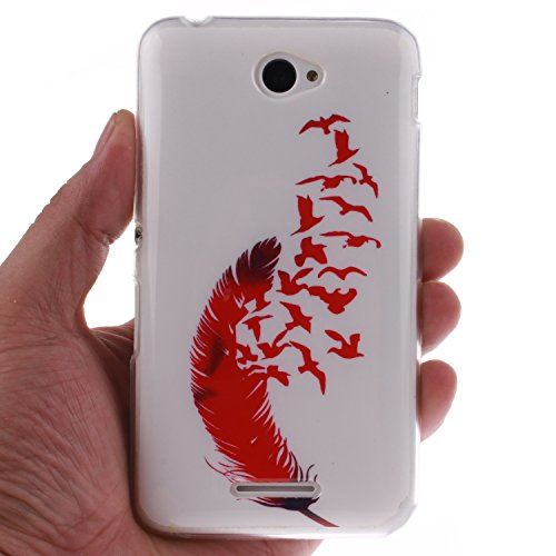 Sony Xperia E4 Funda,Ligero a Prueba de Choques Flexible Ultra Fino Suave TPU Parachoque Carcasa MAGQI Tecnología IMD Diseño Impreso Vendimia Serie Patrón [Absorción de Impacto] Resistente a los Araña Pájaros de Plumas Rojas