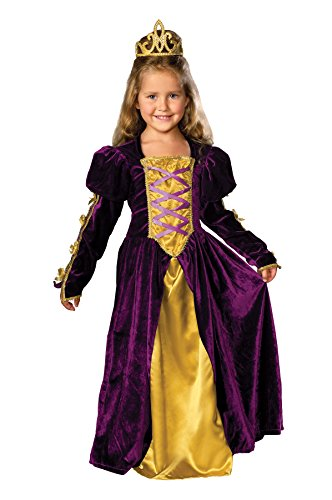 [UHC Girl's Regal Queen Toddler Renaissance Velvet Gown Child Halloween Costume, 2T-4T] (Toddler Renaissance Costumes)