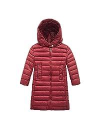 EkarLam® Children Kids Chic Plain Long Hooded Zip Outwear Down Jacket Coat