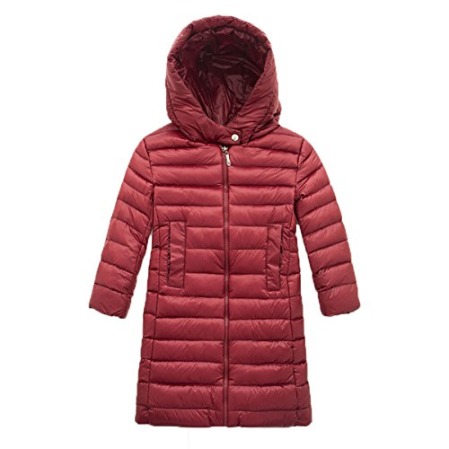 Winered Zip Jacket Kids Outwear Plain Chic Down Hooded Children Coat Long EkarLam® x76ZPw