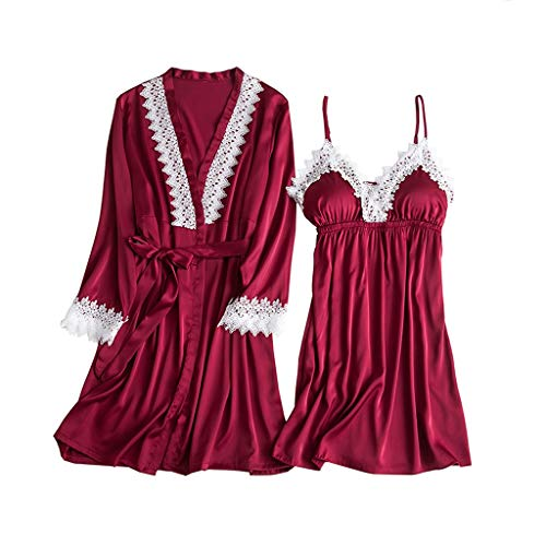 Malbaba-Lingerie Women Silk Lace Robe Dress Babydoll Sleepwear Nightdress Pajamas Set Wine]()