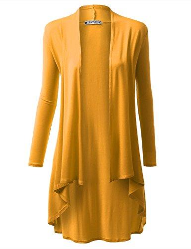 URBANCLEO Womens Basic Hi-Lo Open Front Long Cardigan Mustard, 2XL