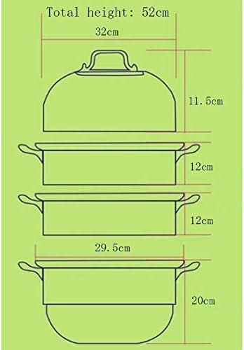 WOHAO Pot de Soupe À Vapeur faitout Vapeur Grand Acier Inoxydable Multi Couche Vapeur, 4 Couches épaisses de ménage Cuisinière à Induction/gaz Cuisinière 32cm Universal (Size : -)
