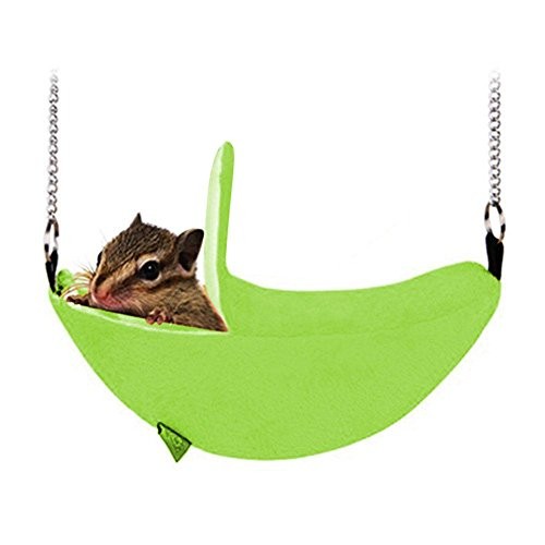 - Aolvo Banana Hammock/House/Hideout/Bed for Dwarf Hamster, Big Cage Nest House Accessories Swing Bridge Hanging Bed Toys for Small Breed Animals Like Guinea Pig, Sugar Glider, Hamster - Green