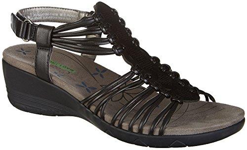 Ladies Black Leather Sandals Heels - BareTraps Womens Haydin Sandals 9.5 Black