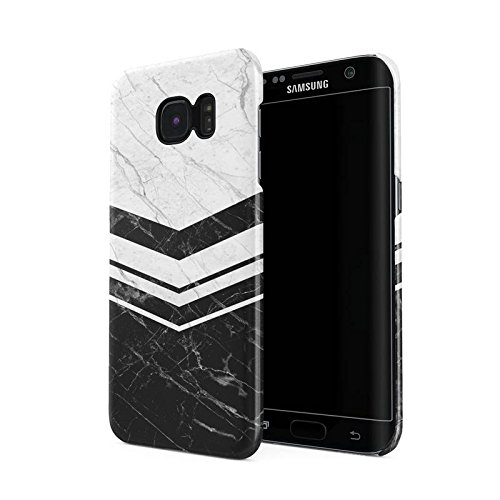 Black & White Marble Chevron Line Blocks Hard Plastic Phone Case For Samsung Galaxy S7 Edge