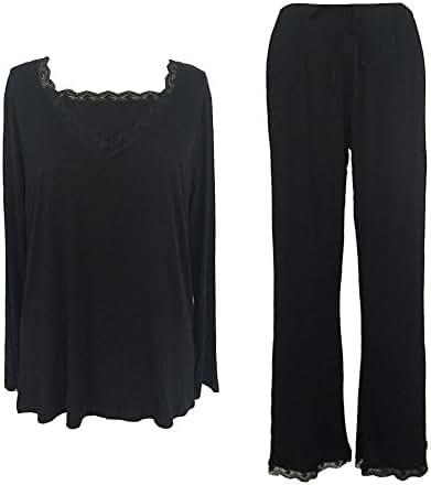 Sleepy Time Women's Bamboo Pajamas, Hot Flash Menopause Relief PJs, V Neck