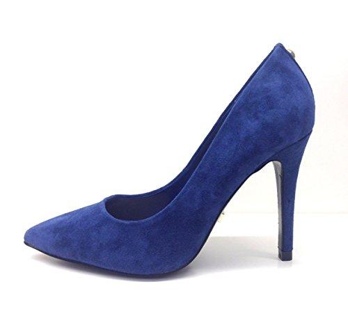 Camoscio V74 Gaudi' Decolté Sfilata Alto Gaudì Scarpe Blue 65514 Tacco Donna Punta Suede 01nFq5