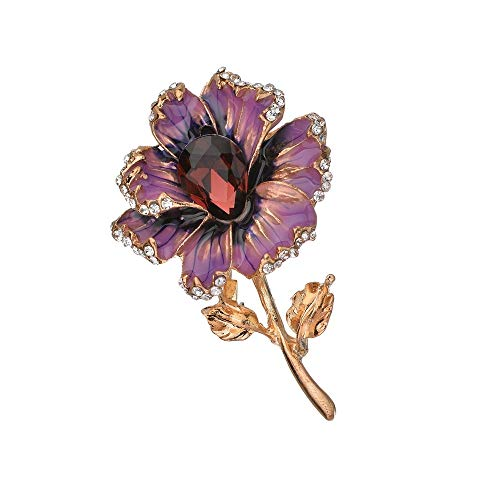 (Culturemart Vintage Enamel Flower Brooches for Women Fashion Rhinestone Brooch Pins Metal Badges Lapel Pin Dress Clothing Jewelry)