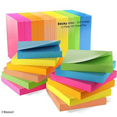 Sticky Notes 3x3, Bright Colorful Stickies, 12 Pads 1200 Sheets Total, Strong Sticking Memo Pads, 6 Colors (Yellow, Green, Blue, Orange, Pink, ()