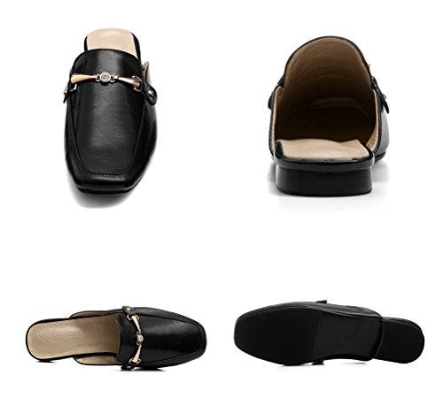 Classiques À 2 Des Hitime Mules Pieds Femmes Orteil Taille Fermées Et 5 Carrés Noir Sandales 8 Appartements Sabots Pantoufles Strass Des CwCqpt4